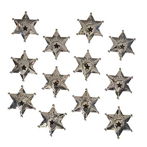 Juvale uvale Sheriffsterne (Set, 12 Stück) - Spielzeug für Kinder, Mitgebsel - Ideal als Accessoire für Cowboy-Kostüm zum Fasching, Karneval, Halloween - Metall, Silber, Durchmesser 6,8 cm