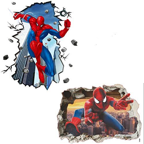 Kibi 2PCS 3D-effekt Aufkleber Spiderman im Wanddurchbruch Loch Marvel's Spider-Man Ultimate Wandtattoo Kinderzimmer Spiderman Wandsticker Spiderman Wandaufkleber Spiderman