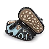 ENERCAKE Baby Boys Girls Shoes Soft Sole Walking Sneakers Cartoon Moccasins Crawling Slippers Infant Toddler Crib First Walkers(3-6 Months Infant, H-Black& Blue)