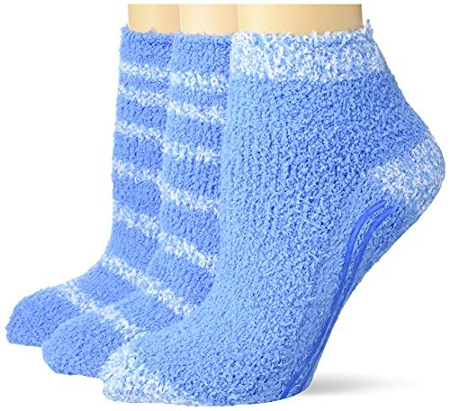 Dr. Scholl's Men's 2 Pack Soothing Spa Low Cut Lavender + Vitamin E Socks with Silicone Treads, Blue, Shoe Size: 4-10