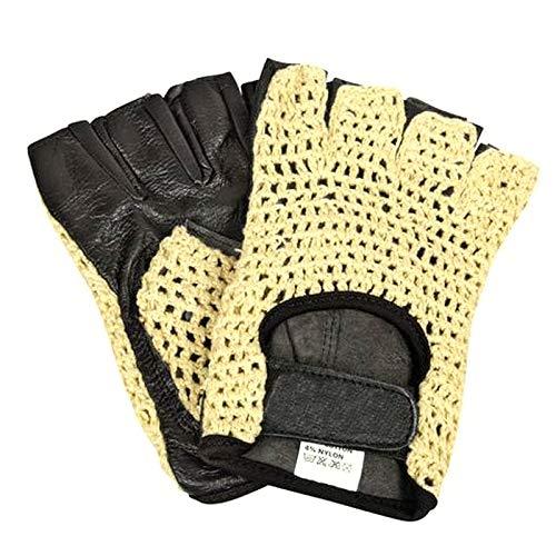 Fahrradhandschuhe Retro Vintage Biker Handschuhe gepolstert schwarz Halbfinger Radsporthandschuhe Trainingshandschuhe für Radsport MTB Fitness Lammleder Leder/Baumwolle Gr. L