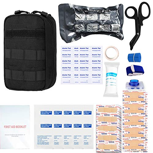 GRULLIN First Aid Survival Kit, 90 Pcs Tactical Molle IFAK Pouch Outdoor Emergency kit Home Office Car Randonnée Chasse Camping Adventure(Noir)