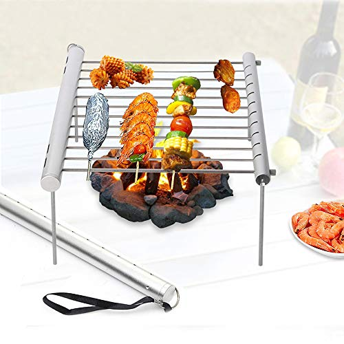 NBLYW Draagbare Camping Grill, Opvouwbare Compact Roestvrij Staal Houtskool Barbecue Grill, Mini BBQ Pocket voor Picnics, Backpacking, Backyards, Survival