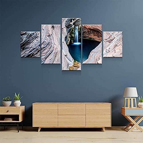 KOPASD De Lienzo De Pared Arte Pintura Cascada Militar para DecoracióN del Dormitorio Y El Hogar, Arte Mural,Ideal para Decorar La Casa 5 Partes (con Marco)