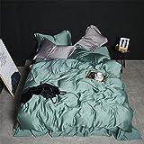 LOIKHGV Beauty 100% Silk Bedding Set Lo Mejor para el Cuidado de la Piel Funda nórdica Pillwocase Queen King Flat Sheet para Mujeres Hombres Kid Bed Set, 001, Queen
