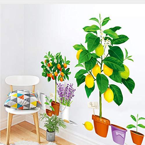 Kyzaa Simulatie vaas plant in pot, lavendel, citroen, wandstickers, 3D-muurstickers, wandstickers, decoratie voor thuis