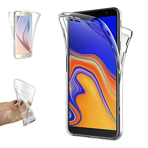 REY Funda Carcasa Gel Transparente Doble 360º para Samsung Galaxy J4 Plus 2018, Ultra Fina 0,33mm,...