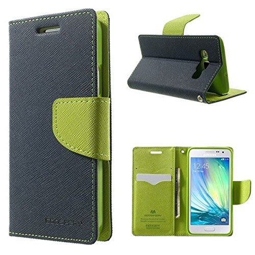 Finaux Luxury Mercury Magnetic Lock Diary Wallet Style Flip Cover Case for Samsung Galaxy Core 8262 - Blue