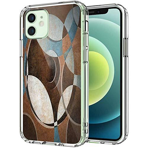 """Coque transparente pour iPhone 12 6,1"""" 2020, style vintage grunge contemporain circulaire géométrique ronde ronde pour homme et femme Bleu ardoise"""