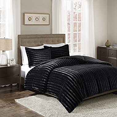 Madison Park Duke Full/Queen Size Bed Comforter Set - Black, Solid – 3 Pieces Bedding Sets – Faux Fur Plush Bedroom Comforters