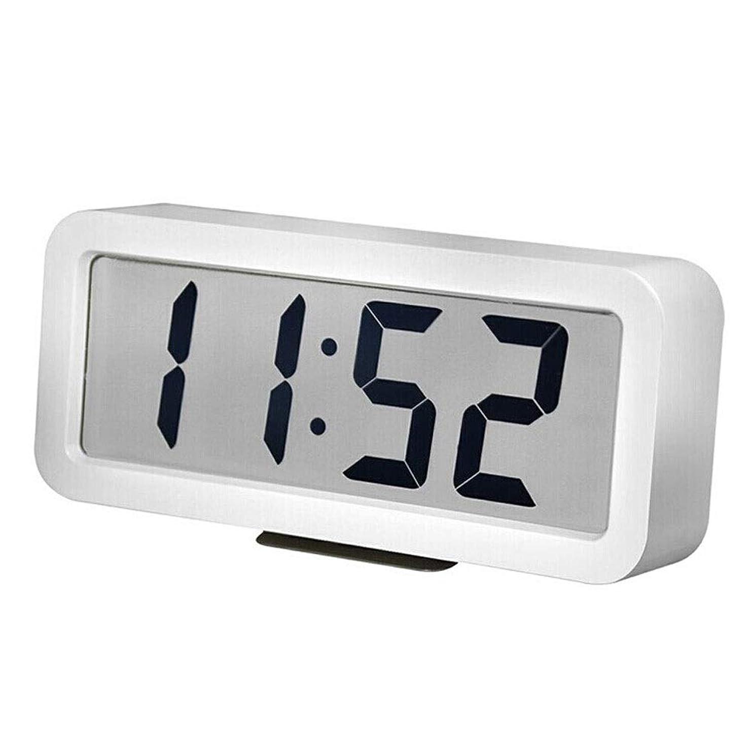 キウイ招待留め金シンプルでモダンな電子目覚まし時計寝室のベッドサイドの目覚まし時計大画面 (Color : White)