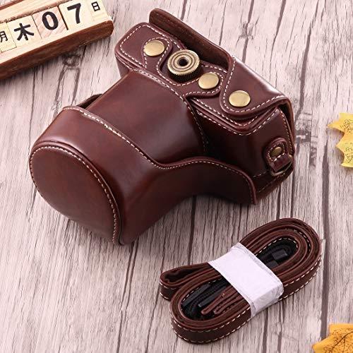 HULDORO Caso Buen Cuerpo de la cámara de la PU Bolsa de Cuero con Correa for Canon EOS M10 Funda de cámara (Color : Coffee)