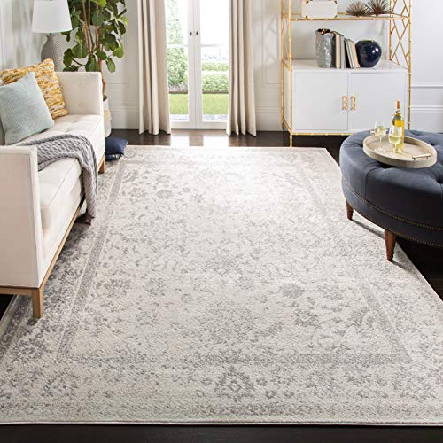 SAFAVIEH Adirondack Collection ADR109C Oriental Distressed Non-Shedding Living Room Bedroom Dining Home Office Area Rug, 9' x 12', Ivory / Silver