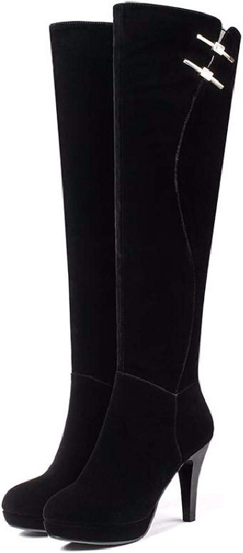SFSYDDY Popular shoes Knee High Boots with High 10Cm Wild High Tube Thin Heel Winter Money Velvet Long Boots.