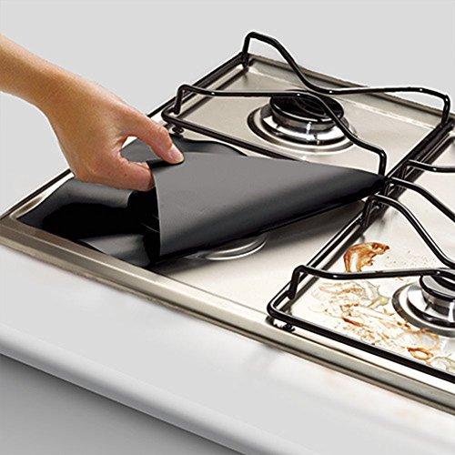 Fone-Stuff - 4protezioni universali riutilizzabili per fornelli, rivestimenti antiscivolo antiaderenti per fornelli del piano cottura a gas, facile pulizia 4 x Black