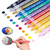 HASTHIP® Acrylic Paint Marker Pens, Set of 12 Colors Markers Water Based Paint Pen for Rock Painting, Canvas, Photo Album, DIY Craft, School Project, Glass, Ceramic, Wood, Metal