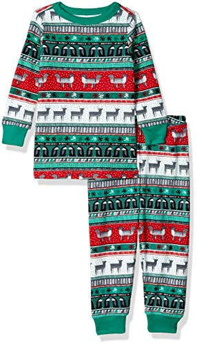 Gymboree Baby Boys 2-Piece Tight Fit Long Sleeve Long Bottoms Pajama Set, Green Reindeer Fair Isle, 2T