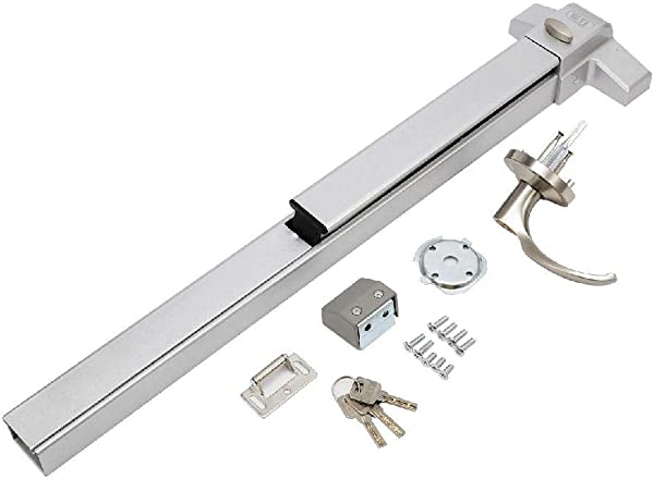 IRONWALLS Door Push Bar With Exterior Lever Lock Emergency Panic Exit Device Door Hardware Stainless Steel Commercial