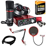Focusrite Scarlett Solo Studio USB Audio Interface & Recording Bundle 2nd Gen +Deco Gear Adjustable Mic Arm +Deco Gear Pop Filter + Deco Gear XLR Male to Female Cable +1 Year Extended Warranty