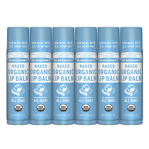 Dr Bronner#039s  Organic Lip Balm 15 ounce 6Pack  Unscented Made with Organic Beeswax and Avocado Oil For Dry Lips Hands Chin or Cheeks Jojoba Oil for Added Moisture Soothing Naked