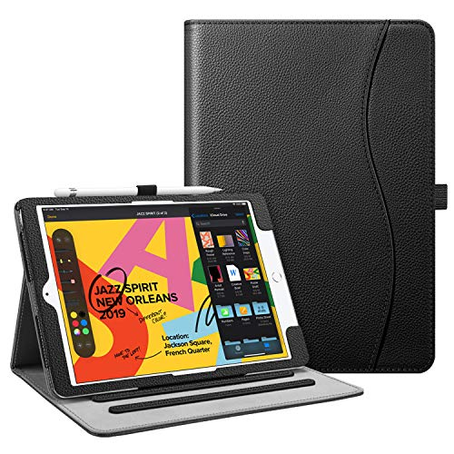 Fintie Case for New iPad 7th Generation 10.2 Inch 2019 - [Corner Protection] Multi-Angle Viewing Folio Smart Stand Back Cover with Pocket, Pencil Holder, Auto Wake/Sleep for iPad 10.2' 2019, Black