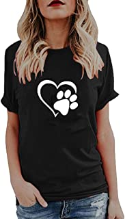 Willow S Womens 2019 Summer Fashion Sport Cute Print Tops O-Neck Short Sleeve Loose T-Shirts Tops Blouse