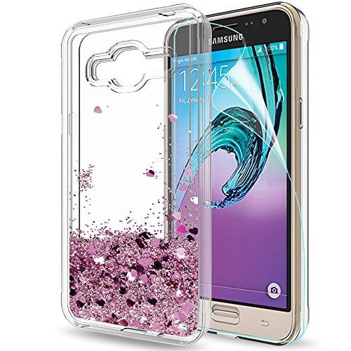 LeYi Funda Samsung Galaxy J3 2016 Silicona Purpurina Carcasa con HD Protectores de Pantalla,Transparente Cristal Bumper Telefono Gel TPU Fundas Case Cover para Movil Samsung Galaxy J3 2016 ZX Oro Rosa