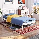 IPOTIUS Cadre de lit simple en bois blanc avec sommier à lattes et tête de lit, idéal pour adultes, enfants, étudiants, adolescents, convient pour 90 x 190 cm