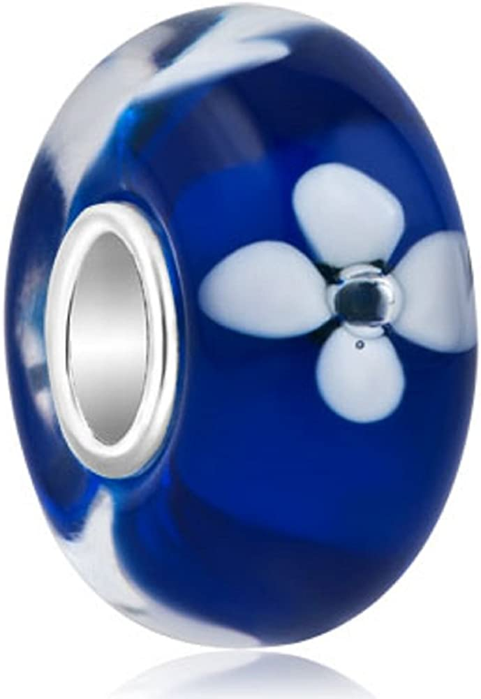 Today's only JewelryHouse Financial sales sale Sterling Silver Flower Murano Charm Fit Beads Glass