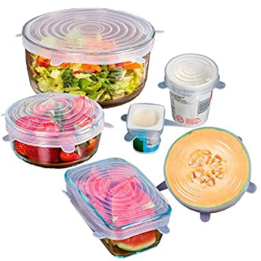 12 PACK - Premium Silicone Stretch Lids - BPA FREE – SAVE MONEY - Reusable, Durable, Heat Resistant, Dishwasher, Microwave and Oven Safe Covers.