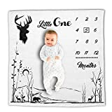 Baby Milestone Blanket - Best Photo Background Blankets with Monthly Chart for Infant's First Year - Soft and Thick Flannel Fleece Fabric for Boys and Girls - Perfect Shower Gift for New Mom