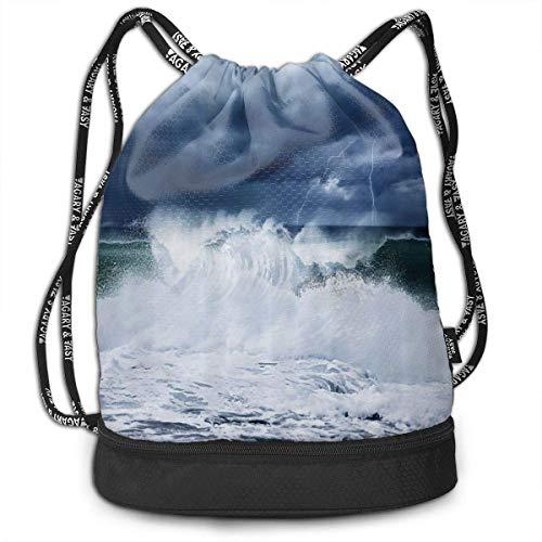 PmseK Turnbeutel Sportbeutel Kordelzug Rucksack, Beach Cloudy Rainy Sky Draw String Backpack Bags Shoulder Cinch Storage Bag for Traveling Hiking