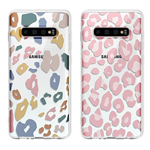 Yoedge 2 Piezas para Samsung Galaxy A8 2018 Funda,Silicona Transparente Delgada TPU Carcasa con Elegante Leopardo Dibujos diseño,Antigolpes Bumper Protección Case para Samsung A8 2018 5,6',Clear
