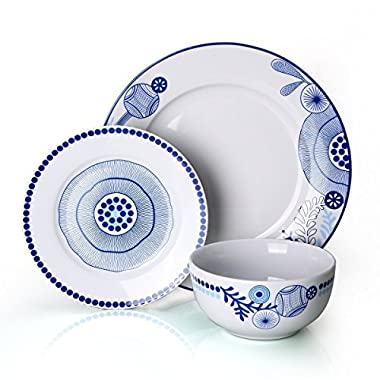 Dinnerware Set for 6,Doublewhale 18-Piece Plates and Bowls Sets Dinner Plate Dishes Service for 6 Kitchen Simple lace and True Blue (18)