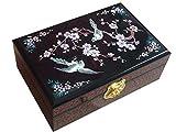 Laogg Caja Joyero Chino,Joyero Caja Madera Almacenamiento de joyería Artesanal Caja de joyero De Boda Estuche Muebles y Regalos orientales
