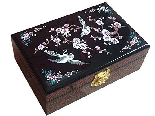 Wooden fish Caja Joyero Chino,Joyero Caja Madera Almacenamiento de joyería Artesanal Caja de joyero De Boda Estuche Muebles y Regalos orientales