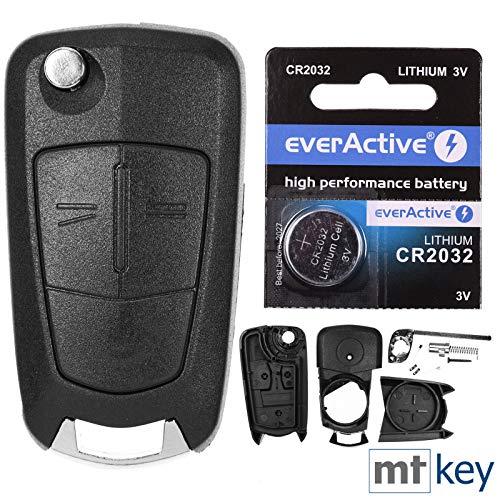 Klapp Schlüssel Gehäuse Funkschlüssel Fernbedienung Autoschlüssel 2 Tasten Rohling HU100 + Batterie kompatibel mit Opel
