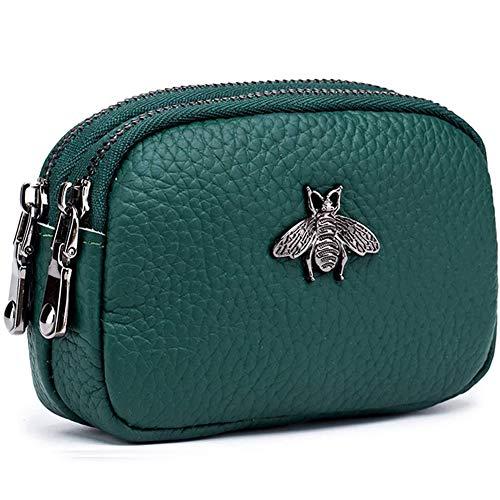 Monedero de Cuero Genuino para Mujer - Doble Cremallera Bolsa de Cambio de Abeja Monedero Portatarjetas Monedero Mini Simple Monedero Lindo útil para Damas Mujer (Verde)