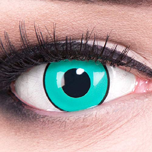 Meralens 1 Paar Farbige Anime Sharingan Kontaktlinsen Gaara in grün türkis schwarz perfekt zu Manga Hereos of Cosplay, Halloween mit gratis Kontaktlinsenbehälter 12 Monatslinsen ohne Stärke
