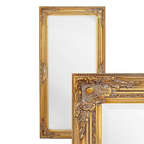 LEBENSwohnART Wandspiegel LEANDOS 100x50cm barock Gold antik Design Spiegel pompös Holzrahmen