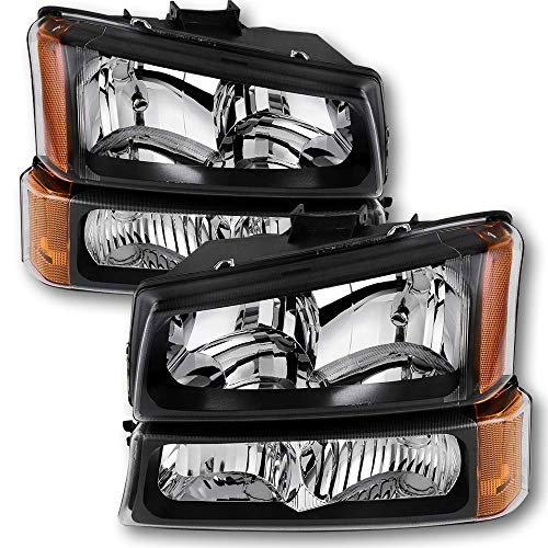 JSBOYAT Headlight Assembly Replacement for 2003-2006 Chevy Avalanche/ 03-07 Chevrolet Silverado 1500 2500 3500 Pickup Headlamp with Bumper Lights - Passenger and Driver Side (Black & Amber)