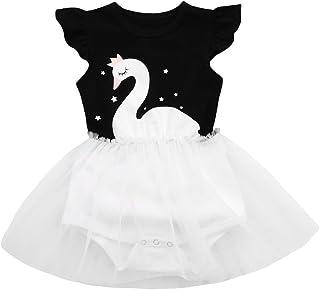 キッズドレス Yochyan 子供 女の子 子供服 ドレス プリンセスドレス 可愛い キュート ワンピース フライスリーブ 星 白鳥 プリント 誕生日 結婚式 コットン ファッション おしゃれ パーティードレス フォーマルドレス チュチュスカート