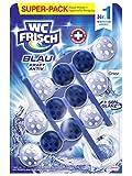 WC FRISCH Kraft Aktiv Blauspüler Chlor, WC-Reiniger, 3 Stück, Farbspüler mit 50 Prozent mehr Glanz