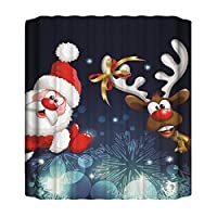 クリスマスシャワーカーテン、3Dプリントサンタポリエステル防水簡単にきれいなバスタブのカーテン、新年保水布バスルームのカーテン、6つのオプション Santa1-165*180