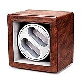 Watches Windrs - Pelle retrò Dual-Posizione Orologio Agitatore Agitatore Orologio meccanico Silent Swing Device Dual-Power Power Power Box Box Box Avvolgibile con luce LED Adatto per orologi meccanici