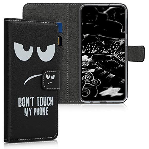 kwmobile Wallet Hülle kompatibel mit Samsung Galaxy A10 - Hülle mit Ständer Kartenfächer Don't Touch My Phone Weiß Schwarz