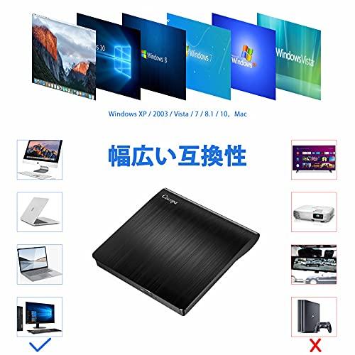 CocopaUSB3.0外付けDVDドライブDVDプレイヤーポータブルドライブCD/DVD読取・書込DVD±RWCD-RWUSB3.0/2.0Window/MacOS両対応高速静音超スリム(ブラック)black