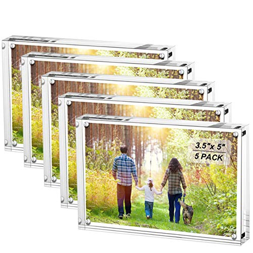 Boxalls 3.5x5 Inches Acrylic Picture Frames- 5 Pack, Desktop Frameless Photo Frames with Magnetic, Double Sided Transparent (5 Pack)