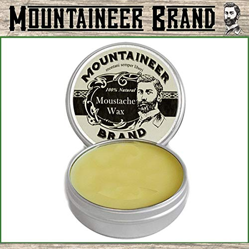 Mustache Wax by Mountaineer Brand - 2 oz Tin, All-Natural, No Residue, Clear and Easy to Use by...