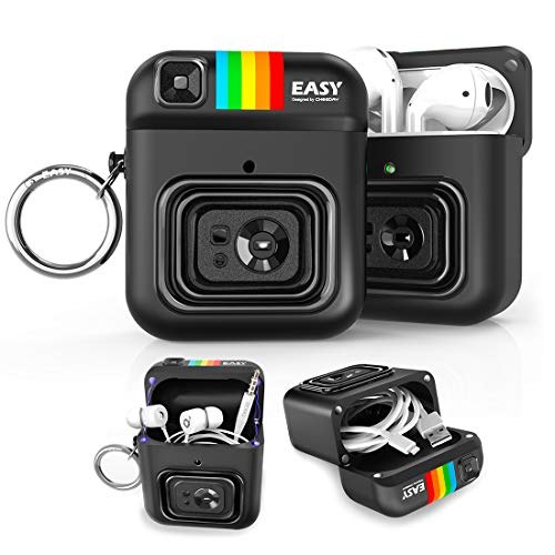 CHEEDAY Camera AirPods Case, Silicone Shockproof Protective Earbuds Magnetic Cover with Round Keychain Compatible with AirPods 1 & 2 Charging Case, Earphone/USB Cable Compact Storage System - Black
